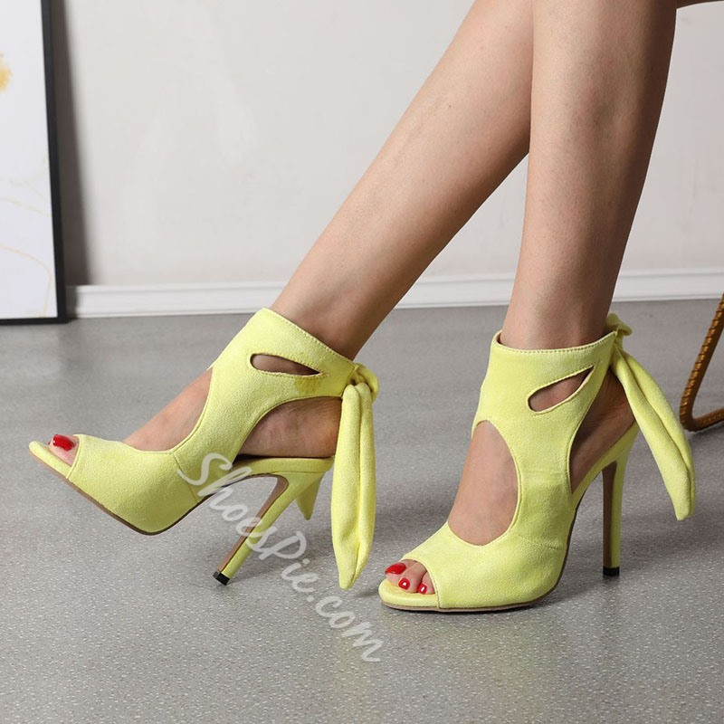 Shoespie Stylish Stiletto Heel Lace-Up Open Toe Hollow Sandals