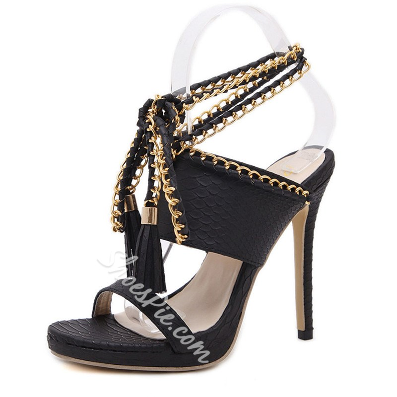 Shoespie Stylish Stiletto Heel Lace-Up OL Sandals