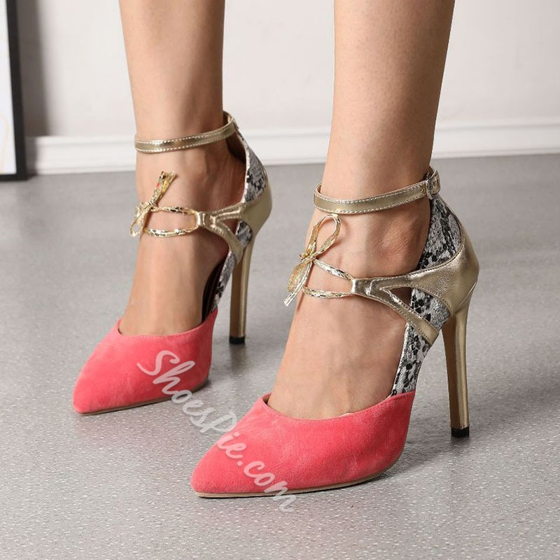 Shoespie Sexy Stiletto Heel Candy Color Buckle Patchwork Thin Shoes
