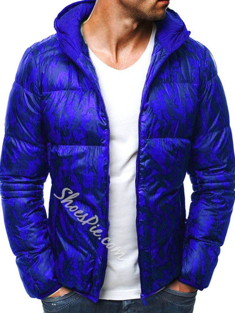 Camouflage Print Hooded Casual Zipper Down Jacket
