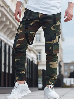 Print Pencil Pants Camouflage Four Seasons Mid Waist Casual Pants