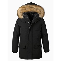 Mid-Length Hooded Appliques Zipper European Down Jacket