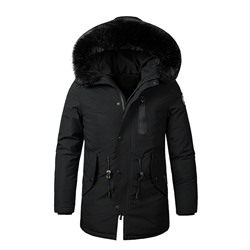 Appliques Mid-Length Hooded Zipper Down Jacket