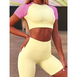 Color Block Summer T-shirt Shorts Two Piece Set