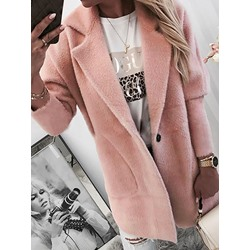 Loose One Button Notched Lapel Women's Overcoat