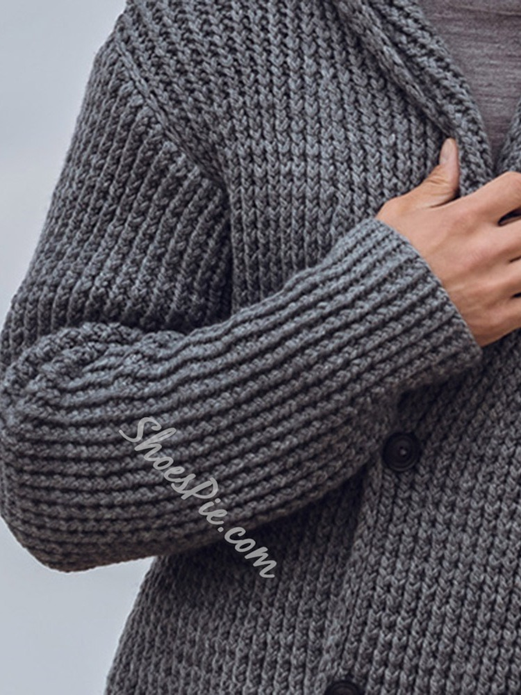 Button Plain Standard Fall Double-Breasted Sweater