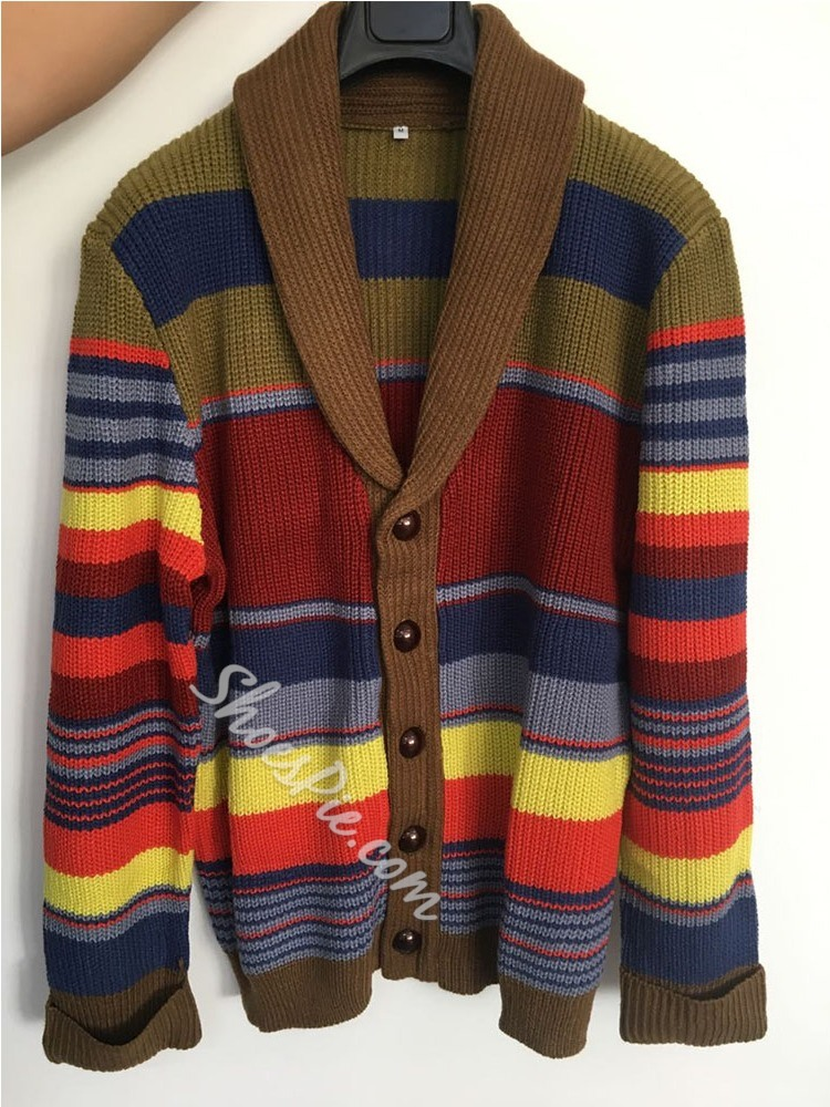 Button Standard Color Block Loose Single-Breasted Sweater
