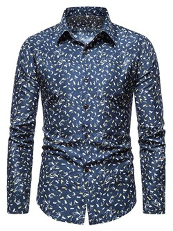 Floral Print Lapel Casual Single-Breasted Slim Shirt