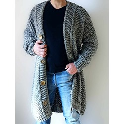 Long Plain Button Single-Breasted Loose Sweater