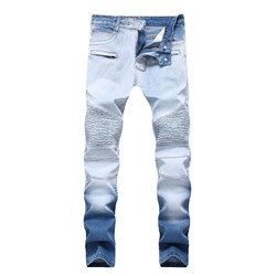 Straight Pleated Zipper European Jeans