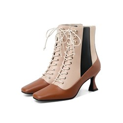 Shoespie Trendy Patchwork Square Toe Side Zipper OL Boots