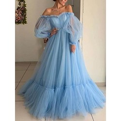 Floor-Length Off Shoulder See-Through A-Line Women's Dress