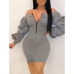 Pleated Above Knee Long Sleeve Cold Shoulder Women's Dress