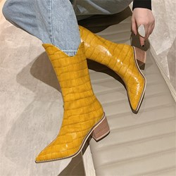 Shoespie Trendy Slip-On Plain Pointed Toe Alligator Pattern Boots