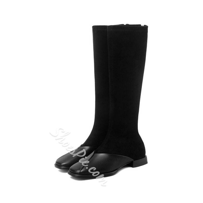 Shoespie Trendy Back Zip Square Toe Patchwork Thread Boots