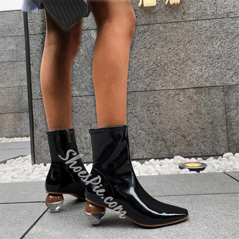 Shoespie Stylish Square Toe Plain Side Zipper OL Boots