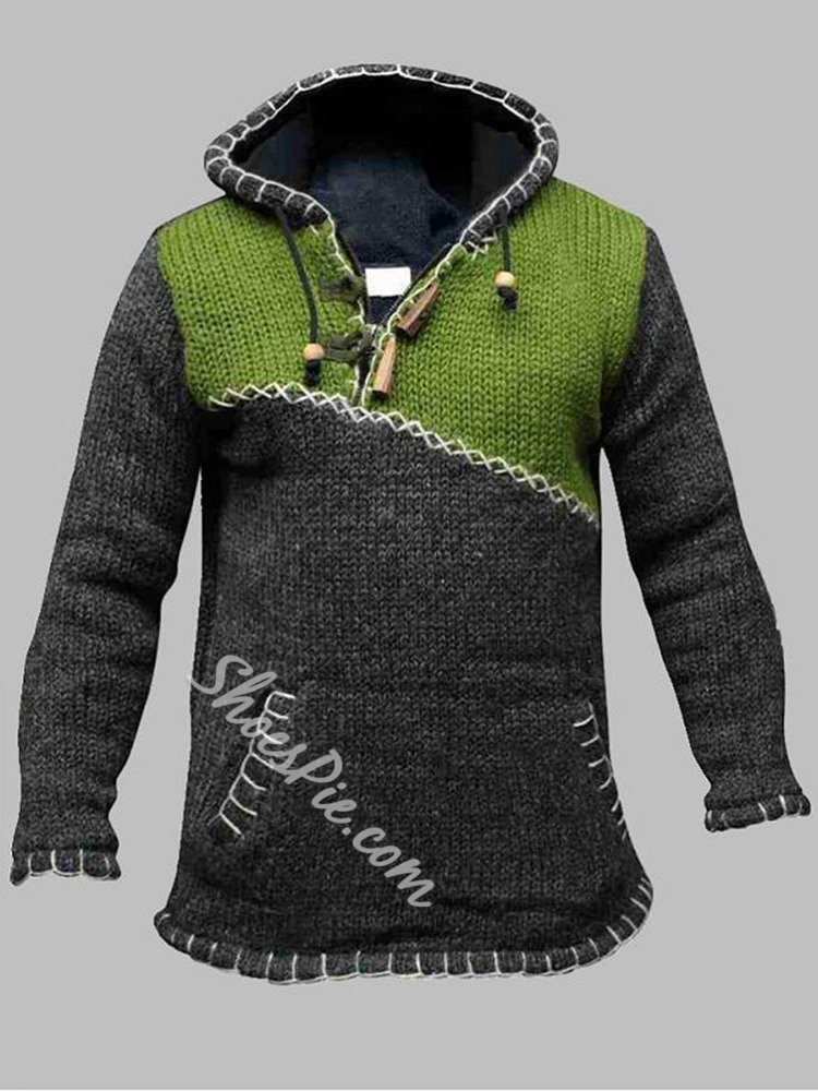 Color Block Standard Patchwork Straight Casual Sweater