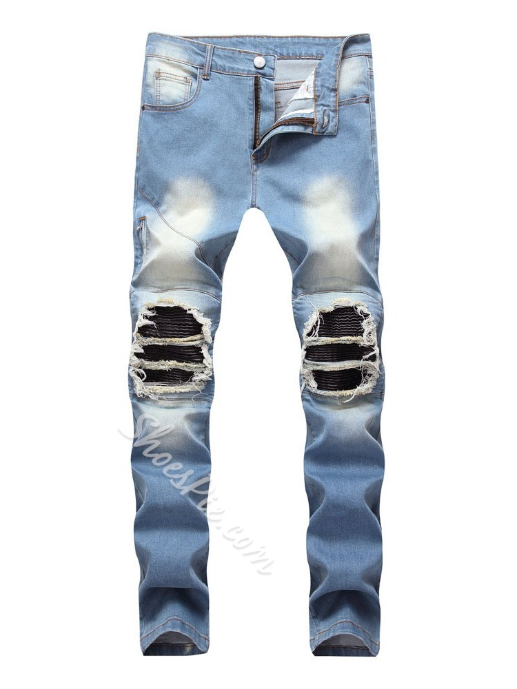 Straight Worn Mid Waist Denim European Jeans