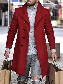 Lapel Mid-Length Button Straight Winter Coat