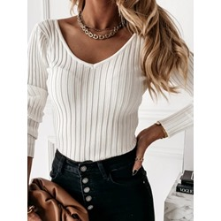 Stripe Plain Women's Sweater