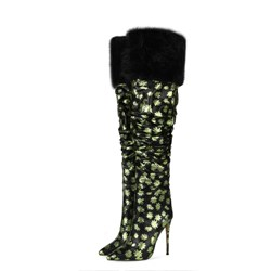 Shoespie Stylish Stiletto Heel Floral Pointed Toe OL Boots