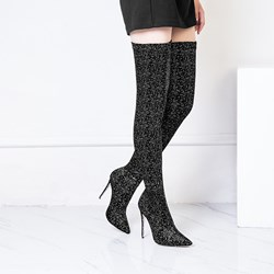 Shoespie Sexy Slip-On Stiletto Heel Pointed Toe Sequin Boots