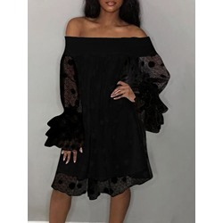 Long Sleeve Knee-Length Patchwork Fall Women's Dress