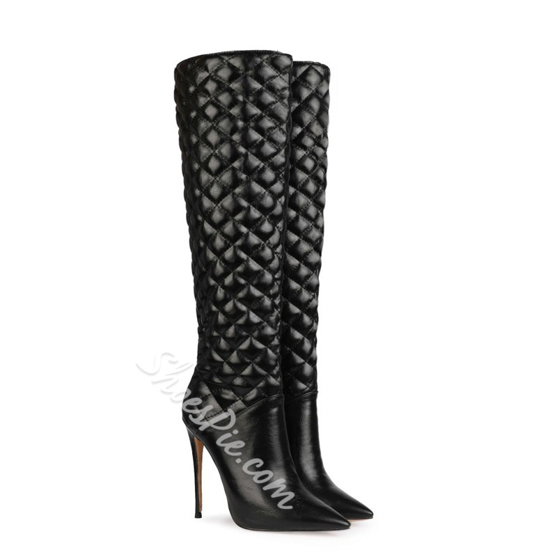 Shoespie Stylish Slip-On Plaid Pointed Toe OL Boots