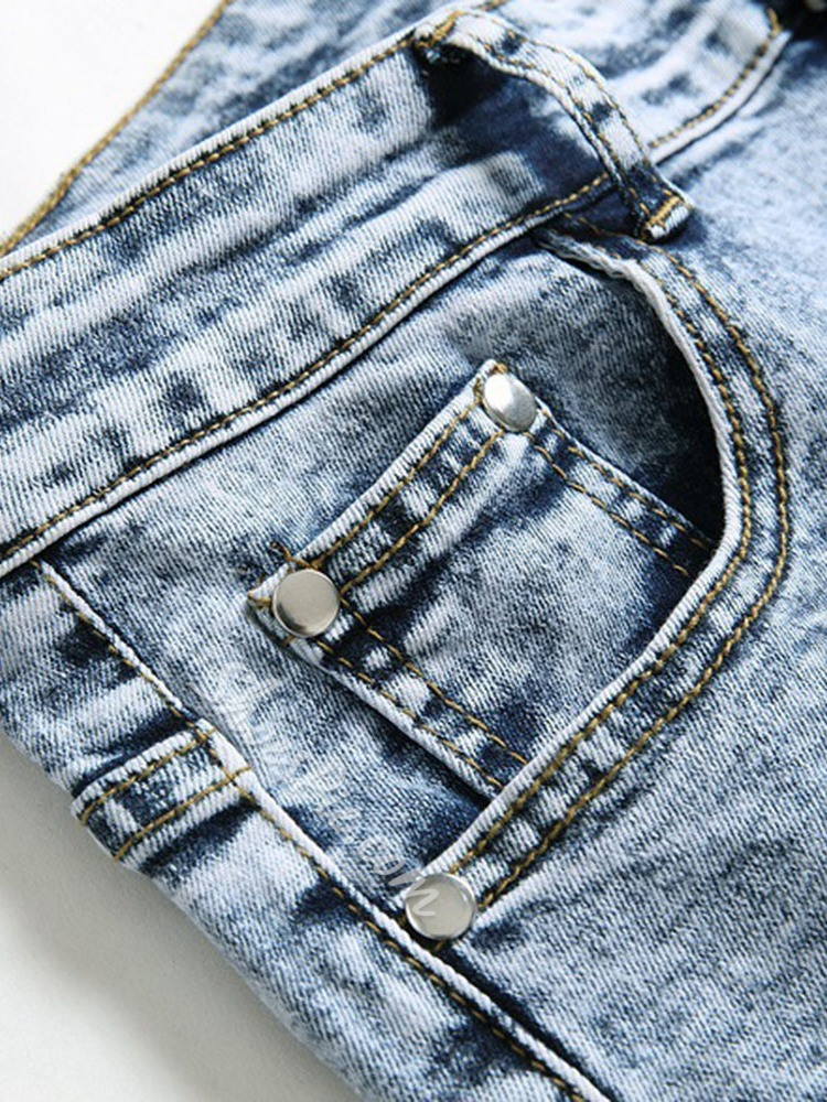 Straight Print Zipper European Jeans