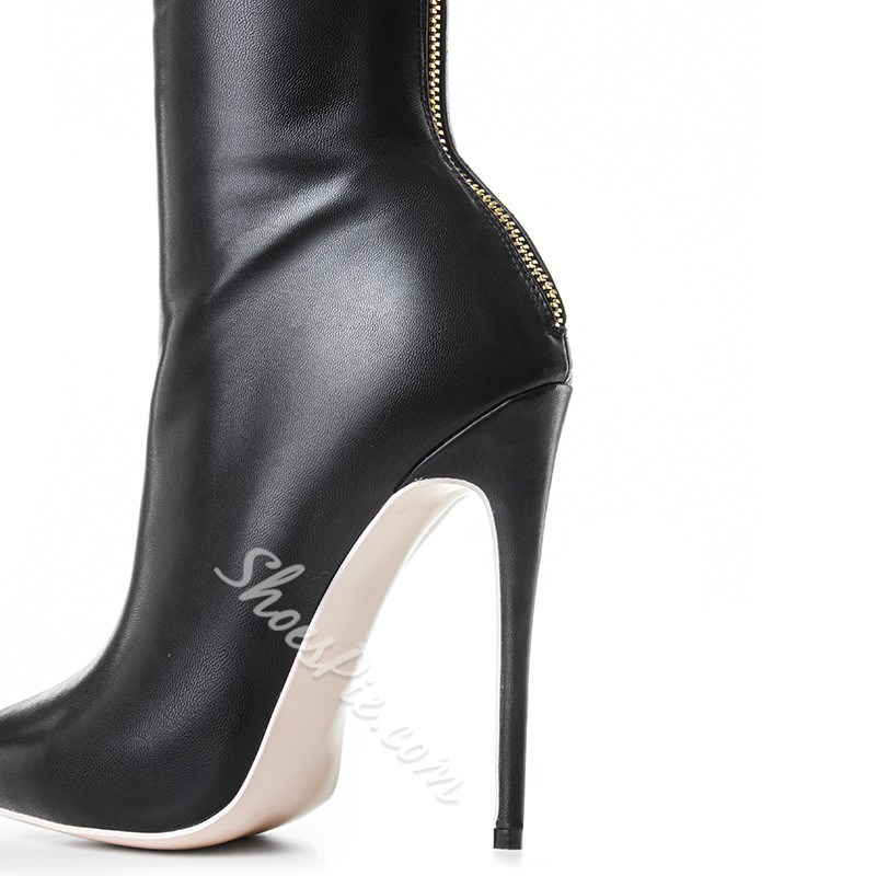 Shoespie Stylish Stiletto Heel Pointed Toe Back Zip Short Floss Boots