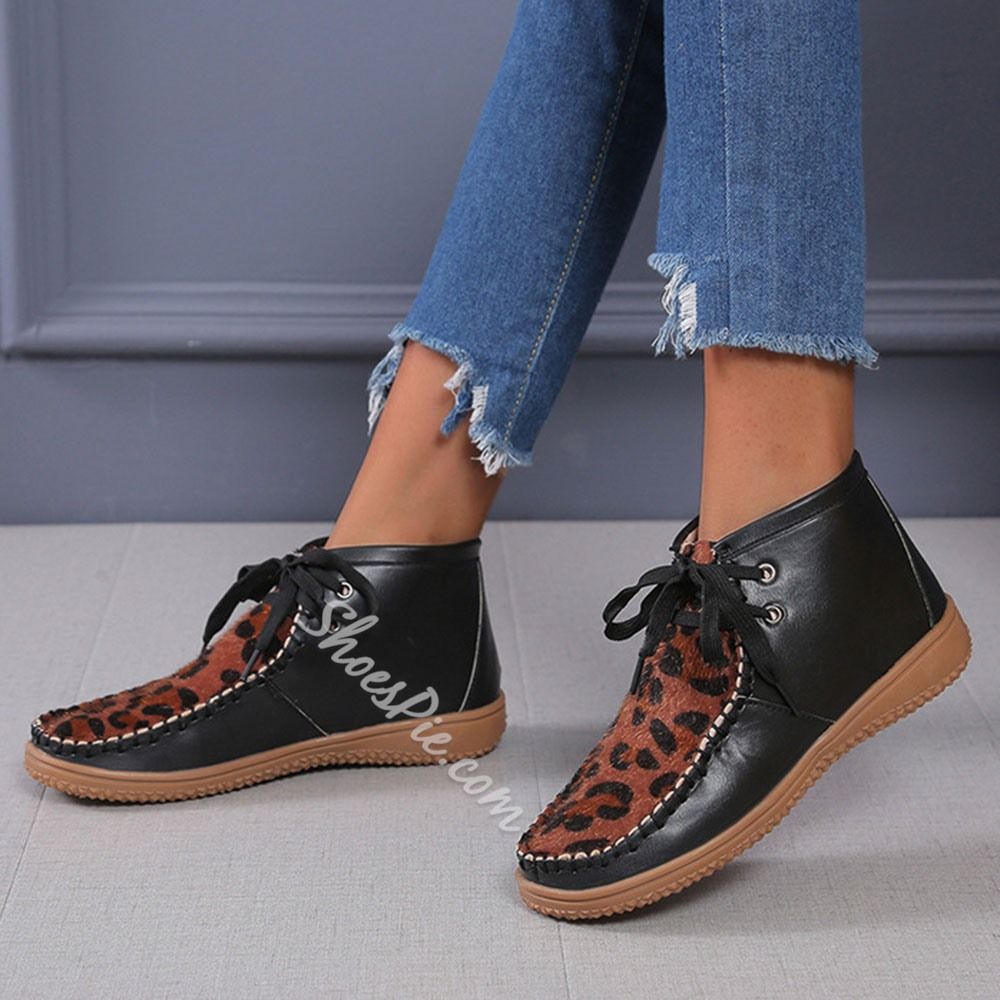 Shoespie Stylish Patchwork Flat With Lace-Up Front Vintage Boots