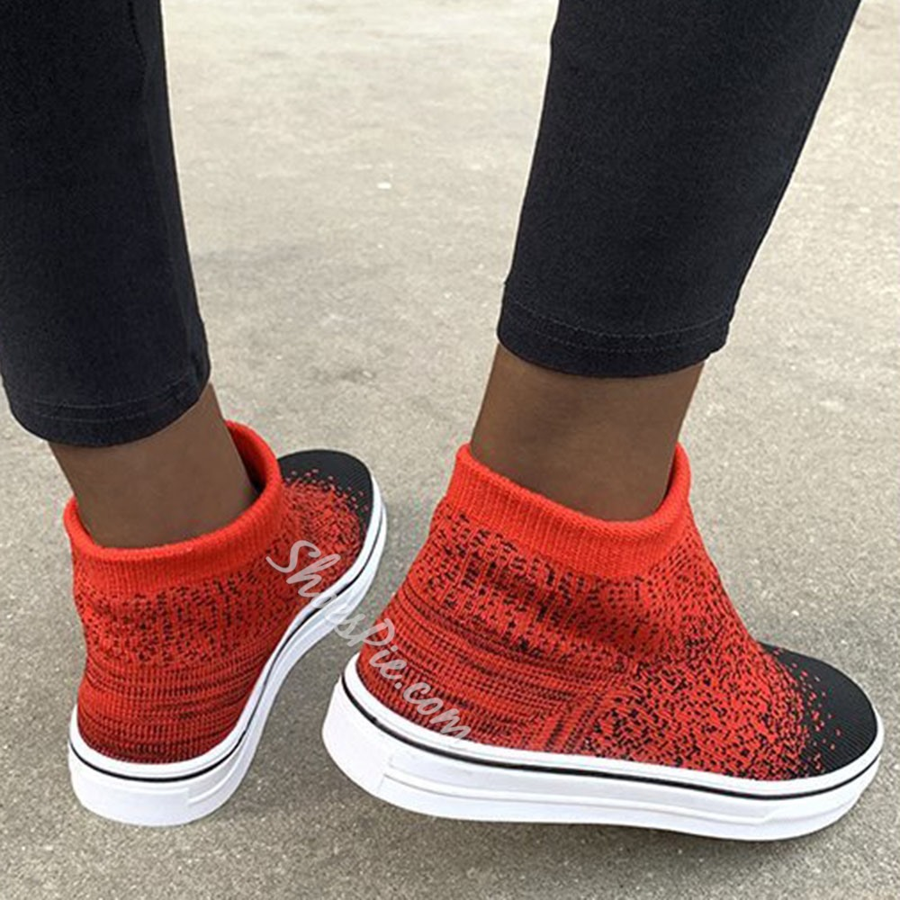 Shoespie Stylish Round Toe Thread Low-Cut Upper Flat Sneakers