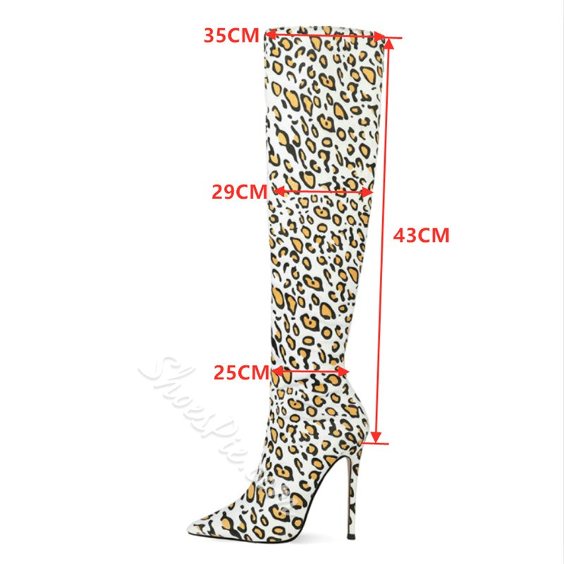 Shoespie Trendy Leopard Pointed Toe Slip-On Short Floss Boots