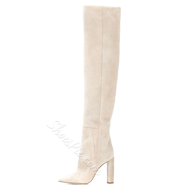 Shoespie Stylish Plain Slip-On Pointed Toe Short Floss Boots