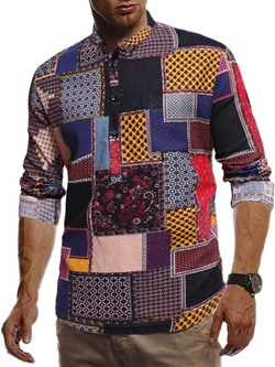 Stand Collar Print Ethnic Double-Breasted Spring Shirt