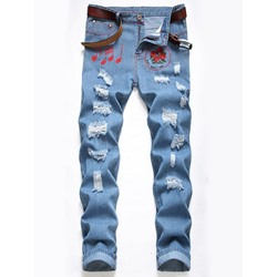Embroidery Straight Zipper Mid Waist Jeans