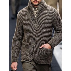 Plain Pocket Stand Collar Casual Single-Breasted Sweater