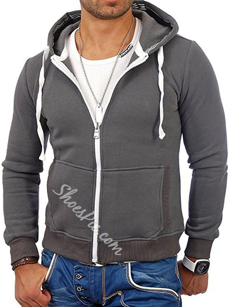Pullover Pocket Plain Hooded Zipper Hoodies