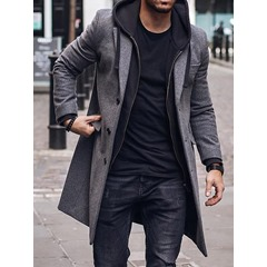 Mid-Length Button Plain Fall Single-Breasted Coat