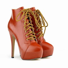 Shoespie Stylish Plain Lace-Up Front Stiletto Heel PU Boots