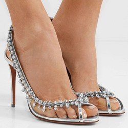 Shoespie Stylish Peep Toe Stiletto Heel Slingback Strap Rhinestone Sandals