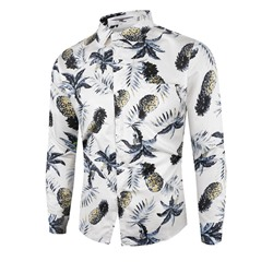 Print Lapel Casual Fall Slim Shirt