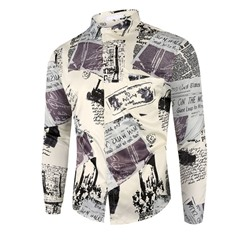 Letter Print Casual Fall Single-Breasted Shirt
