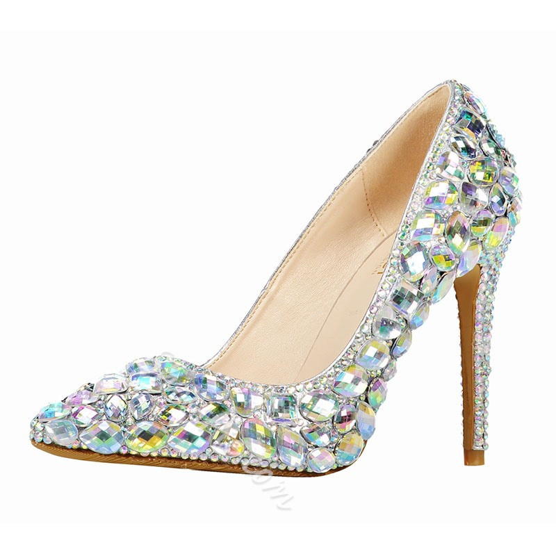 Shoespie Sexy Rhinestone Pointed Toe Stiletto Heel Low-Cut Upper Thin Shoes