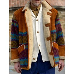 Print Floral Thick Single-Breasted Winter Jacket