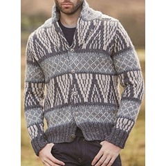 Stand Collar Color Block Standard Single-Breasted European Sweater
