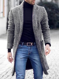 Notched Lapel Plaid Pocket Winter European Coat
