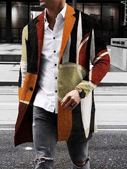 Color Block Button Mid-Length One Button Straight Coat