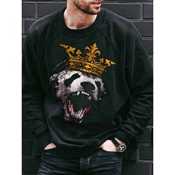 Pullover Print Animal Spring Round Neck Hoodies