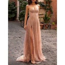 Floor-Length Sequins Sleeveless A-Line Women's Dress